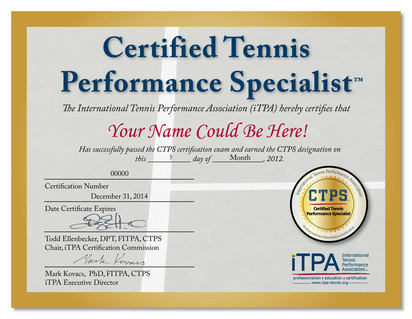 tennis certification  Certified Tennis Performance Specialist (CTPS) Tennis Training and ...